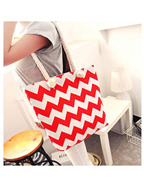 Fashion Red Wave Shape Pattern Decorated Simple Design Beach Bag