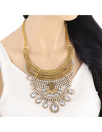 Exaggerate Gold Color Hollow Out Collar Shape Decorated Short Chain Design Alloy Bib Necklaces