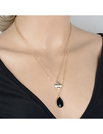 Fashion Gold Color Waterdrop Shape Beads Pendant Decorated Double Layer Design Alloy Chains