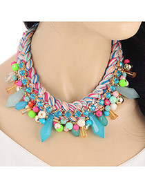 Exaggerate Multi-color Beads Pendant Decorated Hand-woven Chain Design