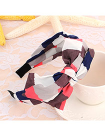 Sweet Red+navy Blue Geometric Shape Pattern Decorated Double Bowknot Design
