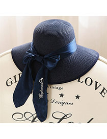 Trendy Sapphire Bule Big Bowknot Decorated Simple Design Straw Sun Hats