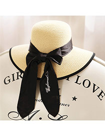 Trendy Beige Big Bowknot Decorated Simple Design