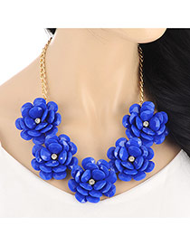 Fashion Sapphire Blue Five Flowers Decorated Simple Design