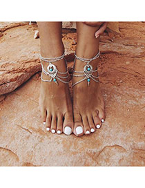 Fashion Silver Color Beads Decorated Multilayer Design Alloy Fashion Anklets