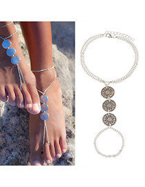 Fashion Silver Color Round Shape Decorated Double Layer Design Alloy Fashion Anklets