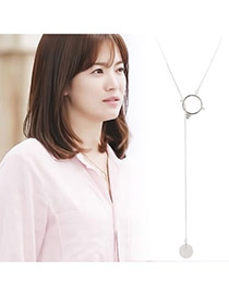 Trending Silver Color Round Pendant Decorated Dots Descendants Of The Sun Copper Bib Necklaces