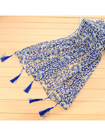 Personality Sapphire Blue Flower Pattern Decorated Tassel Design