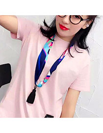 Retro Pink+black Tassel Pendant Decorated Geometry Pattern Design Silk Thin Scaves