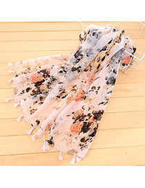 Personality White Flower Pattern Decorated Tassel Design Cotton Thin Scaves