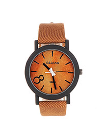 Fashion Brown 8 Digital Decorated Round Case Design Pu Ladies Watches
