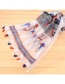 Personality White Geometry Pattern Decorated Tassel Design Cotton Thin Scaves