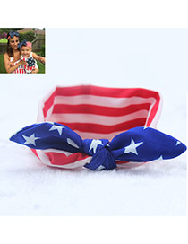Lovely Sapphire Blue Flag Pattern Decorated Rabbit Ears Shape Design Fabric Kids Accessories