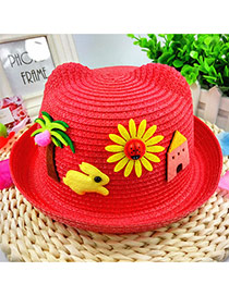 Lovely Red Rabbit&tree Decorated Crimping Design Straw Children's Hats