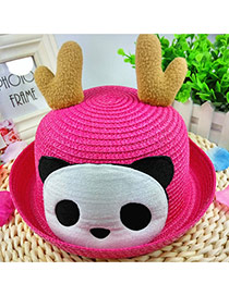 Lovely Plum Red Panda&antlers Decorated Crimping Design
