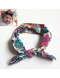 Lovely Multicolor Flower Pattern Decorated Rabbit Ear Shape Design Cotton Kids Accessories