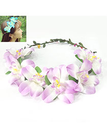 Sweet Purple Flower Decorated Simple Design Fabric Hair band hair hoop