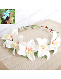Sweet White+red Flower Decorated Simple Design Fabric Hair band hair hoop