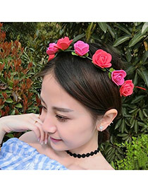 Sweet Red+plum Red Flower Decorated Simple Design Fabric Hair band hair hoop