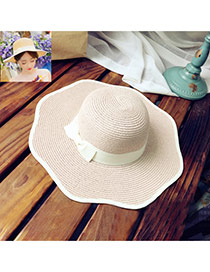 Lovely Pink Bowknot With Lace Decorated Simple Design Straw Sun Hats