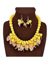 Exaggerate Yellow Leaf & Pearl Decorated Tassels Design Alloy Jewelry Sets