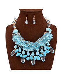 Exaggerate Blue Leaf Shape & Gem Tassels Decorated Double Design Alloy Jewelry Sets