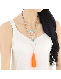 Fashion Orange Diamond & Flower Shape Decorated Multilayers Design