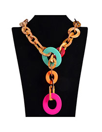Exaggerate Plum Red Circle Decorated Chain Shape Design Acrylic Bib Necklaces