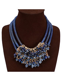 Fashion Blue Gem Tassels Decorated Multilayers Design Acrylic Bib Necklaces