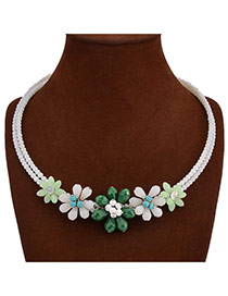 Exaggerate Dark Green+white Flower Shape Decorated Double Layer Design Acrylic Bib Necklaces