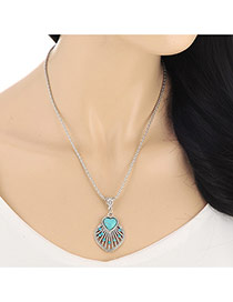 Fashion Blue Heart Diamond Decorated Shell Shape Pendant Design  Alloy Bib Necklaces