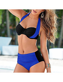 Sexy Black+blue Color Matching Decorated Hang Neck Design Polyester Sexy Bikini