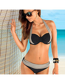 Sexy Gray+black Color Matching Decorated Hang Neck Design Polyester Sexy Bikini