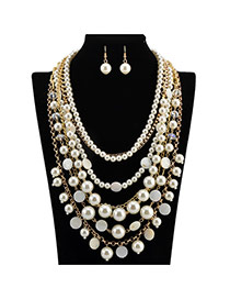 Luxury White Pearl Decorated Multilayer Design