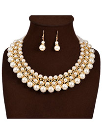 Elegant White Pearl Weaving Decorated Collar Design Pearl Jewelry Sets