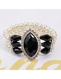 Luxury Black Big Oval Dimaond Decorated Multilayer Design Crystal Korean Fashion Bracelet