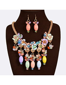 Exaggerate Multi-color Beads Tassel&flower Pendant Decorated Simple Design Acrylic Jewelry Sets