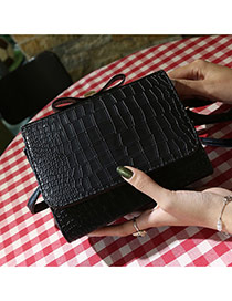 Fashion Black Crocodile Grain Pattern Decorated Pure Color Design