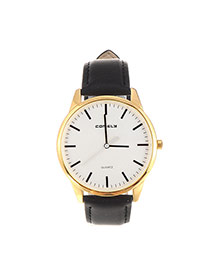 Trendy Black Line Decorated Round Case Design Pu%2belectron Ladies Watches