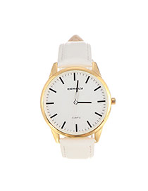 Trendy White Line Decorated Round Case Design Pu%2belectron Ladies Watches