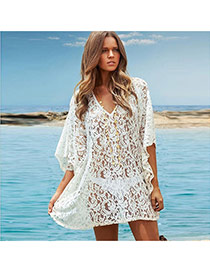 Sexy White Irregular Shape Decorated Hollow Out Design Bikini Cover Up Smock Cotton Beach Dresses