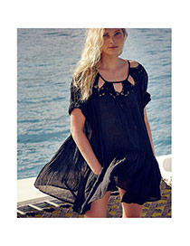 Sexy Black Hollow Out Decorated Loose Design Bikini Cover Up Smock Artificial Cotton Beach Dresses
