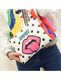Personality Black Cartoon Mouth Pattern Decprated Square Shape Design Pu Shoulder bags