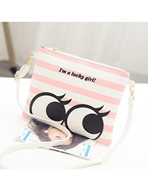 Personality Pink Strip & Eye Pattern Decprated Square Shape Design Pu Shoulder bags