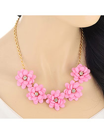 Elegant Pink Five Flowers Decorated Simple Design Alloy Bib Necklaces