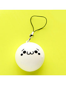 Lovely White Expression Pattern Decorated Ball Shape Design Plastic Household goods