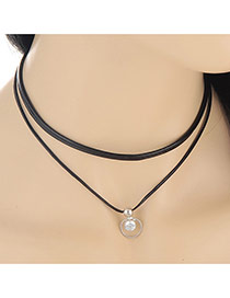 Trendy Silver Color Round Pendant Decorated Double Layer Design
