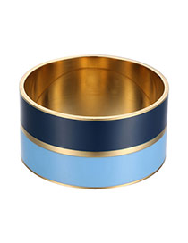 Trendy Blue Cylinder Shape Decorated Sinple Design Alloy Fashion Bangles