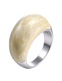 Personality Beige Color Matching Simple Design Alloy Korean Rings
