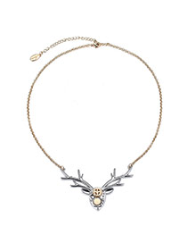 Personality Silver Color Deer Pendant Decorated Simple Design Alloy Bib Necklaces